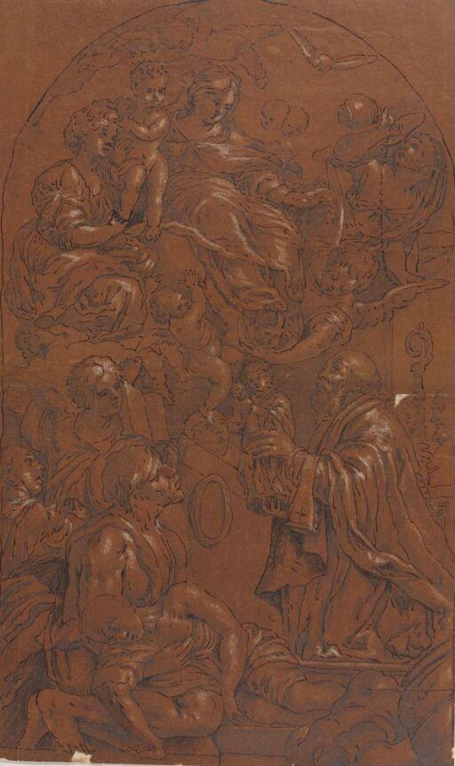 Maria og Jesusbarnet tilbedt av biskop med helgenstatue