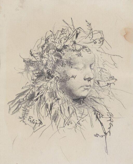 Jente med blomster i håret