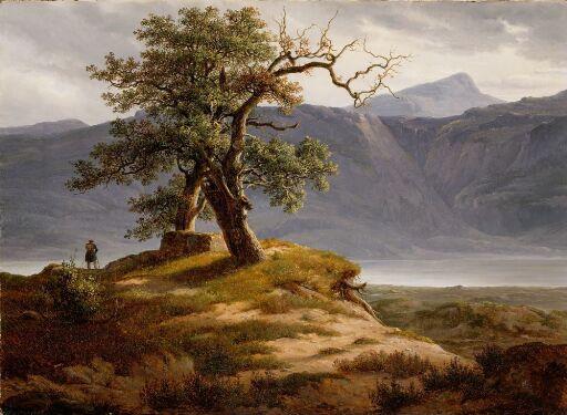Landskap med vandringsmann