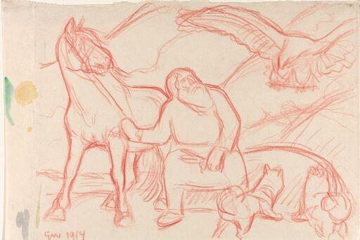 Trym og Loke, en hest og to hunder