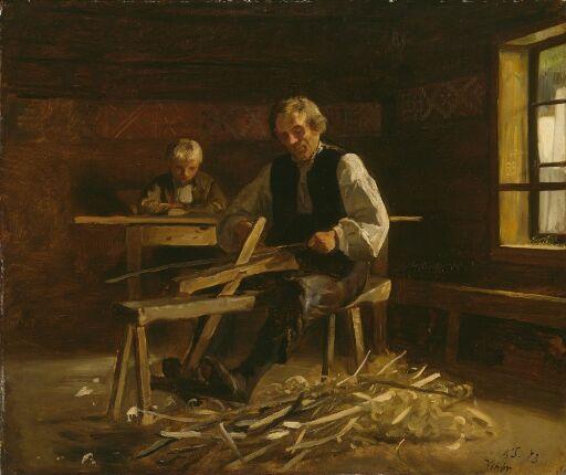 Interiør med bonde som lager tønnebånd, Vikøy