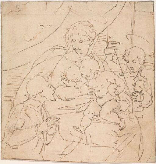Maria med Jesusbarnet og Johannes tilbedt av knelende mann