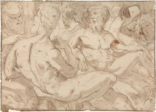 Group of male nudes and other figures