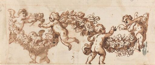 Putti playing with a garland