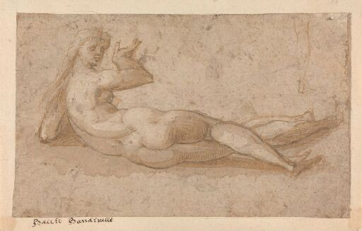 Reclining female nude seen from behind