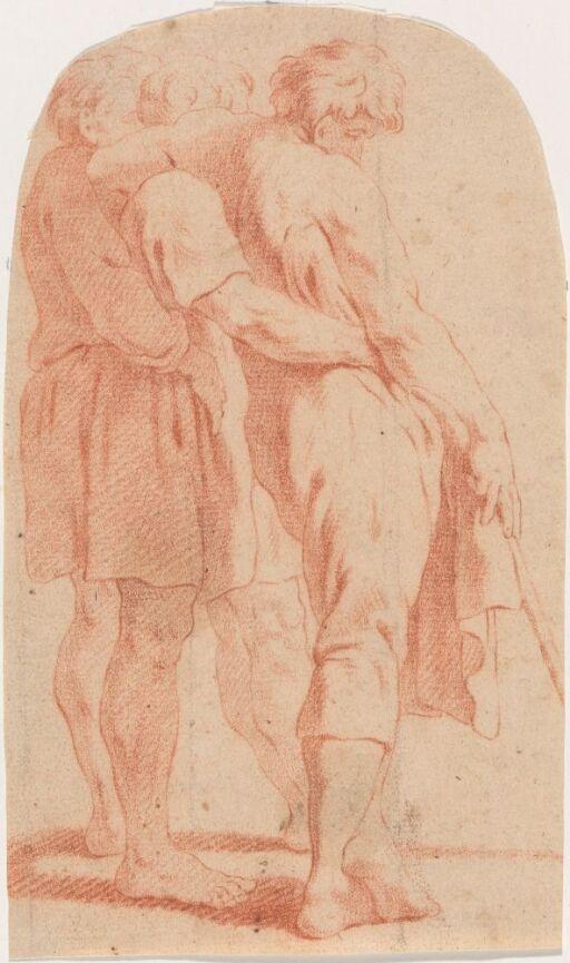 Tre stående mannlige figurer som lener seg til hverandre