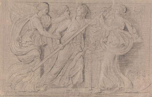 Fire kvinner i antikke drakter