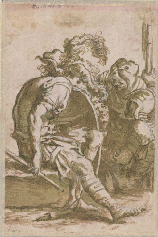 To sittende soldater og kvinne