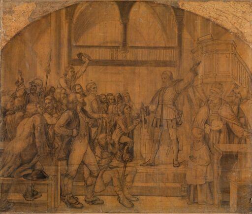 Gustav Vasa taler til Dalalmuen i Mora kirke