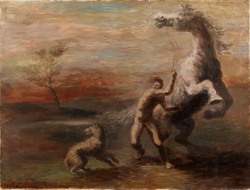 Mann med steilende hest