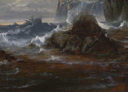 Opprørt hav ved klippekyst