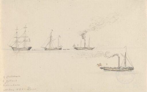 Hjuldamperne Challadonia og Jylland og to seilskuter, København