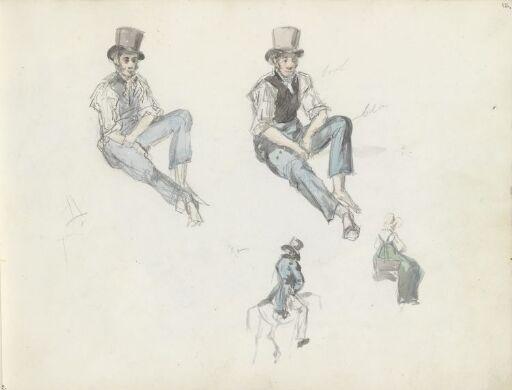 Sittende mann; ridende kvinne og mann