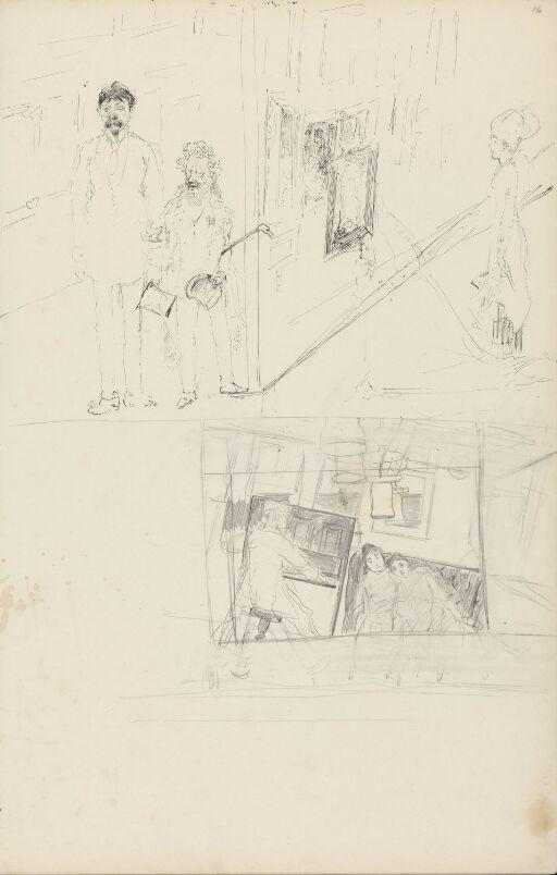 Kunstgalleriscene; interiør med mann og to kvinner