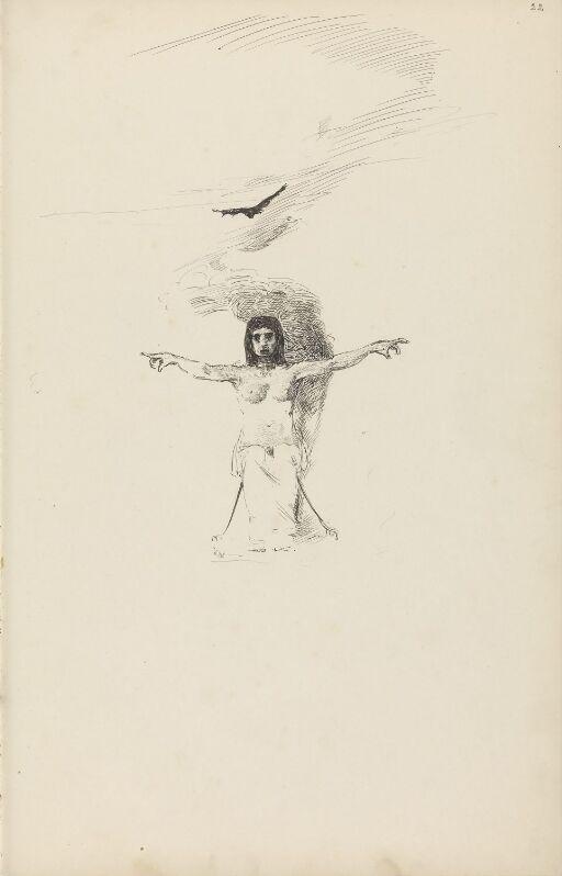 Sittende kvinnefigur med utstrakte armer og fugl