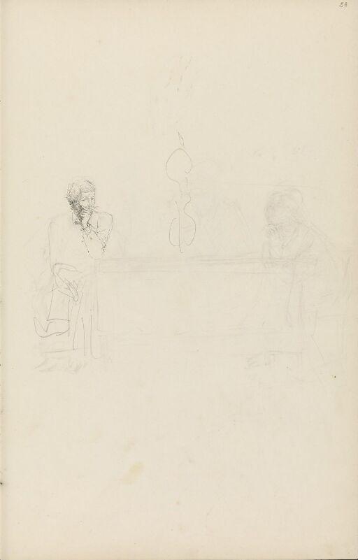 Riss av figurer ved et bord