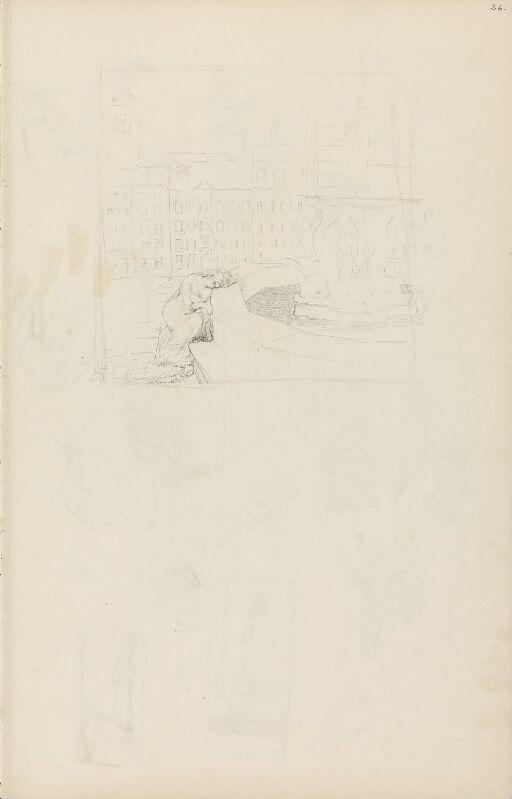 Byscene med kvinne ved fontene