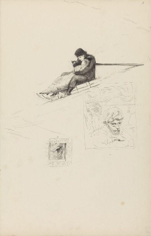 Par på kjelke; Max Klinger; øye