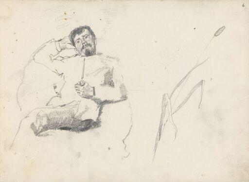 Sittende mann med pipe; dunkjevle