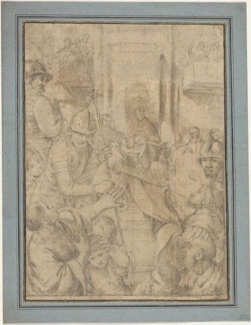 Pave omgitt av vakter som jager folkemasse