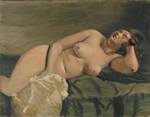 Sovende naken kvinne