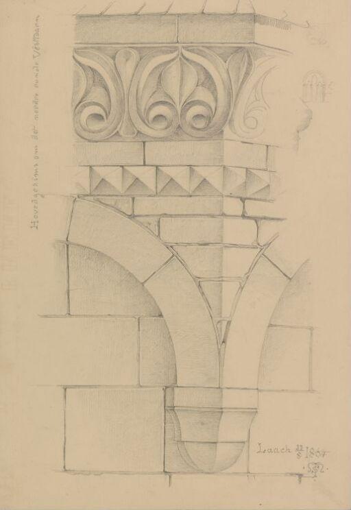 Klosterkirken Maria Laach. Hovedgesims runt tårn