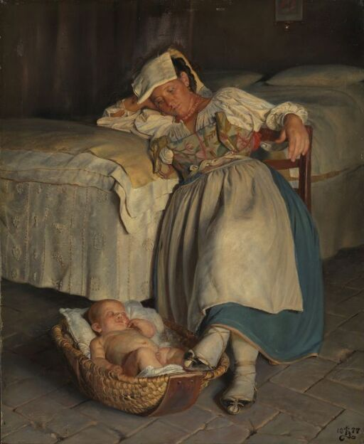 En sabinerinne vugger sitt barn