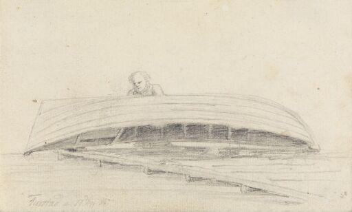 Mannsfigur bak hvelvet båt, Farsta