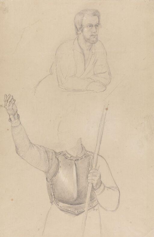 Mann som hviler armene på bord; figur i rustning