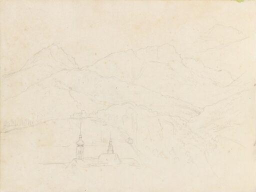 Alpelandskap med kirkespir