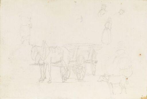 Hest og kjerre; figurstudier