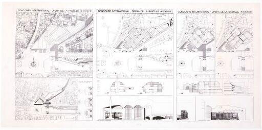 Bastille-operaen. Fasade, fugleperspektiv, plan, situasjonsplan og snitt