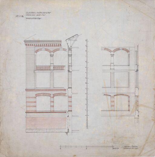 Ullevåls sykehusanlegg – Medisinsk avdeling og rekonvalesenshjem. Detaljtegning, fasade og snitt