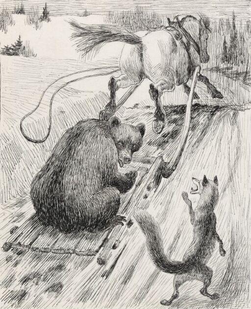 "Illustrasjon til ""En aften i nabogården"", P. Chr. Asbjørnsen, Norske Huldre-eventyr og Folkesagn, Oslo 1934"