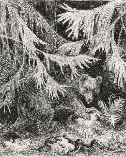 """Illustrasjon til """"En sommernatt på Krokskogen"""", P. Chr. Asbjørnsen, Norske Huldre-eventyr og Folkesagn, Oslo 1934"""