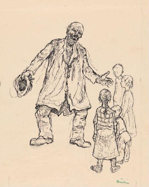 """Illustrasjon til M. A. Nexø. """"Pelle Erobreren"""""""