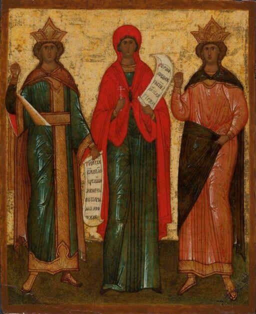 Tre kvinnelige helgener (Katharina?, Pjatnitsa, Barbara?)
