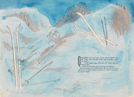 Jérôme og mademoiselle Krag på skitur en vakker vinterkveld
