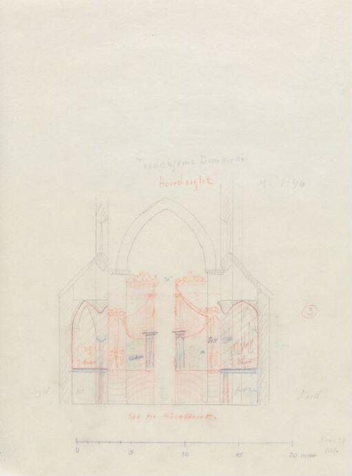 Forslag til orgel i Nidarosdomen. Oppriss