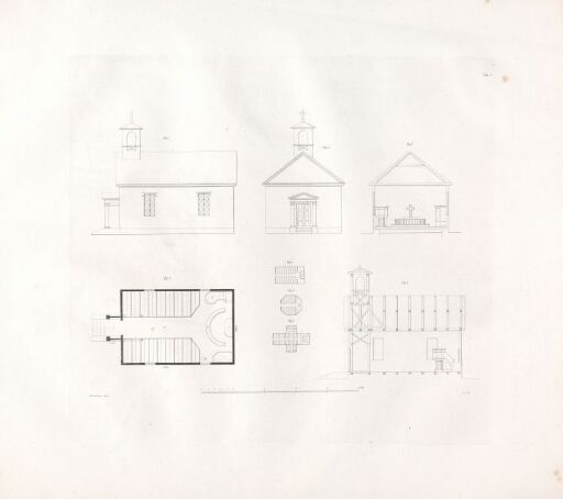 Designs for Church Buildings on the Norwegian Contryside. Plate 1