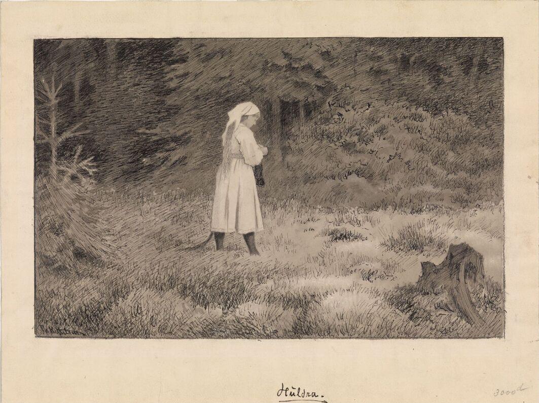 """Illustrasjon til """"Troldskab"""", Kristiania 1892"""