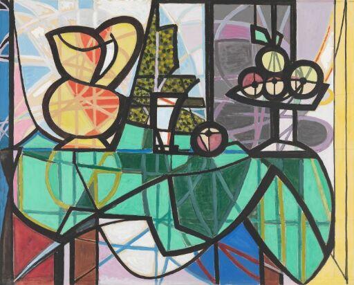 Mugge og en bolle med frukt. Etter Picasso