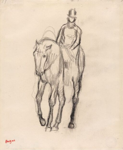 Rytter til hest, en face