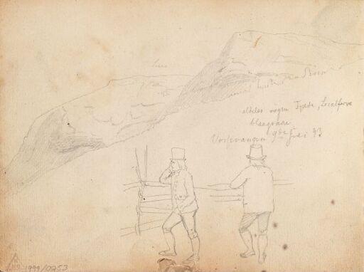 Fjellparti og mannsfigurer, Vossevangen