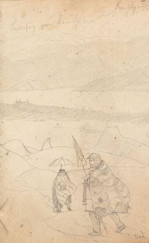 To mannsfigurer i fjellet