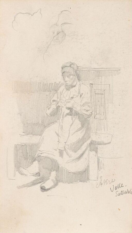 Kvinne med håndarbeid, Åkre i Valle