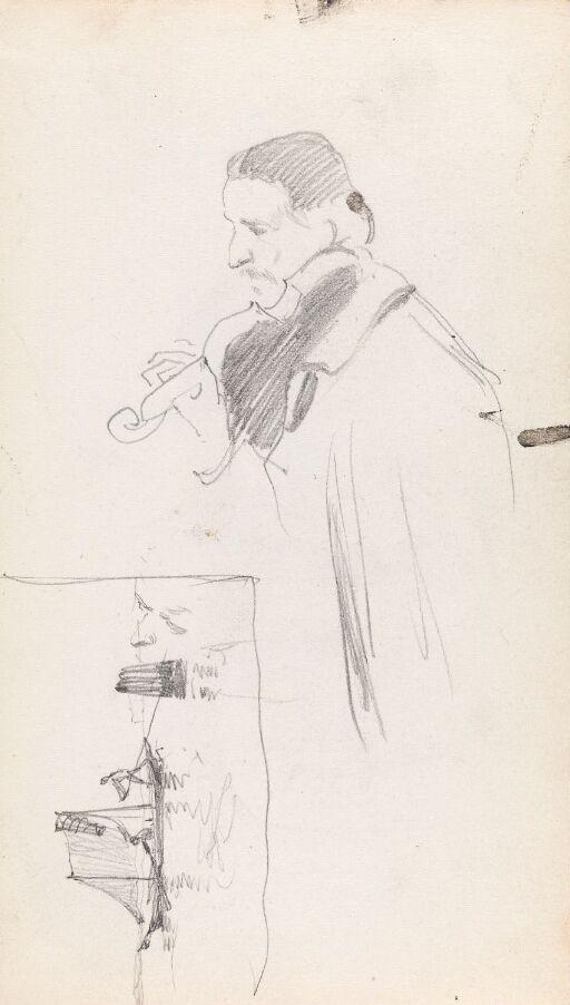 Mann med fiolin; fiskebåt på havet