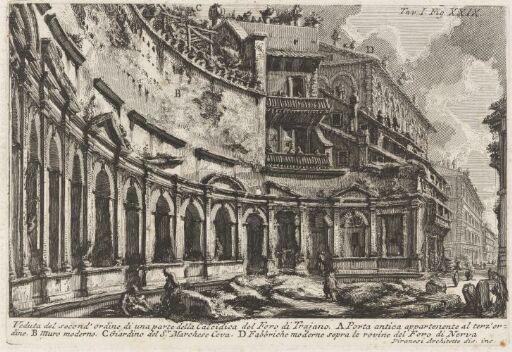 View of part of the upper hemicycle of Trajan' Forum