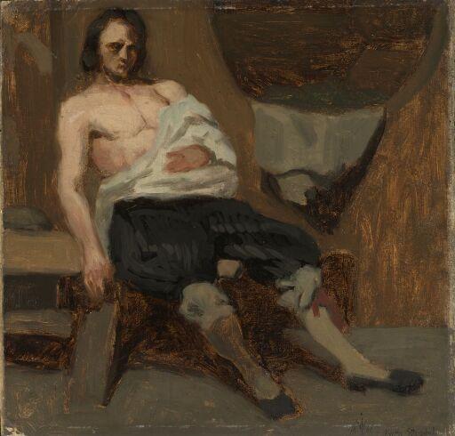 En såret mann. Studie til Slagsmål i en bondestue