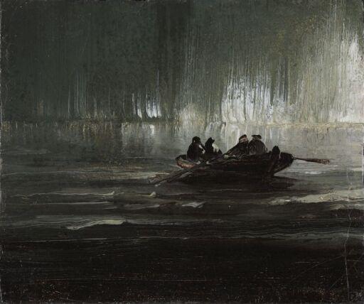 Nordlys over fire menn i robåt